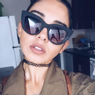 sunglasses quay cat eye black sunglasses nude lipstick choker necklace black choker