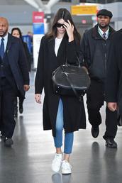 jeans,denim,kendall jenner,sneakers,coat,bag