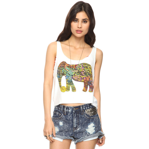 Cropped Vibrant Elephant Tank - Forever 21 - Polyvore