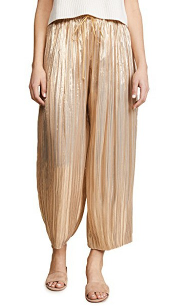 Adam Lippes pants pleated drawstring gold