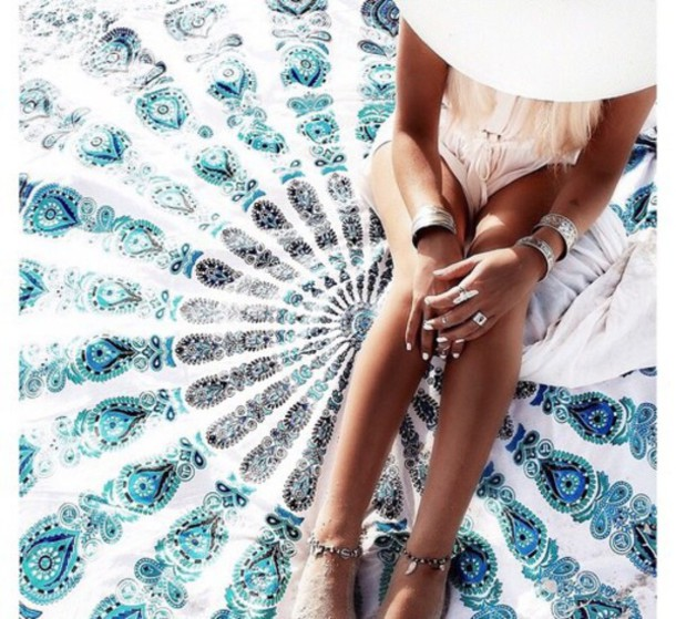 jewels blanket india love home accessory beach lifestyle mandala summer holidays scarf girly girl girly wishlist beach blankte