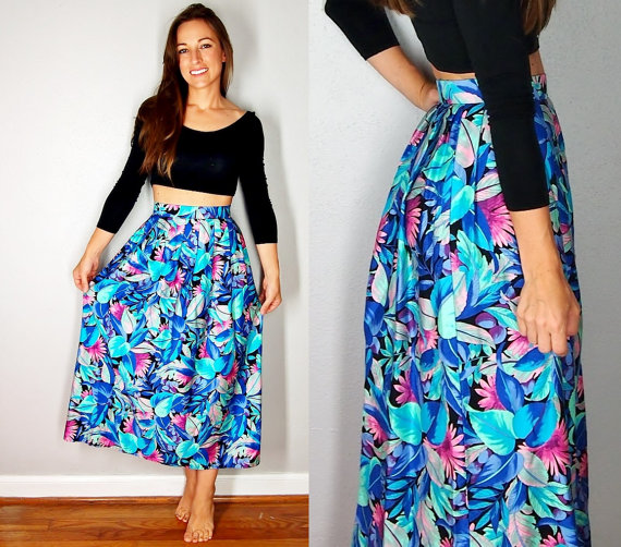 Tropical Neon High Waist Maxi Skirt, Medium Large