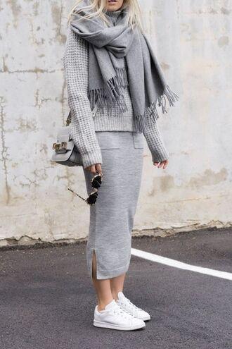 sweater grey sweater grey skirt grey scarf crossbody bag adidas shoes oversized sweater monochrome