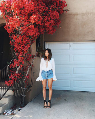song of style blogger shoes long sleeves lace up top denim shorts bell sleeves summer outfits