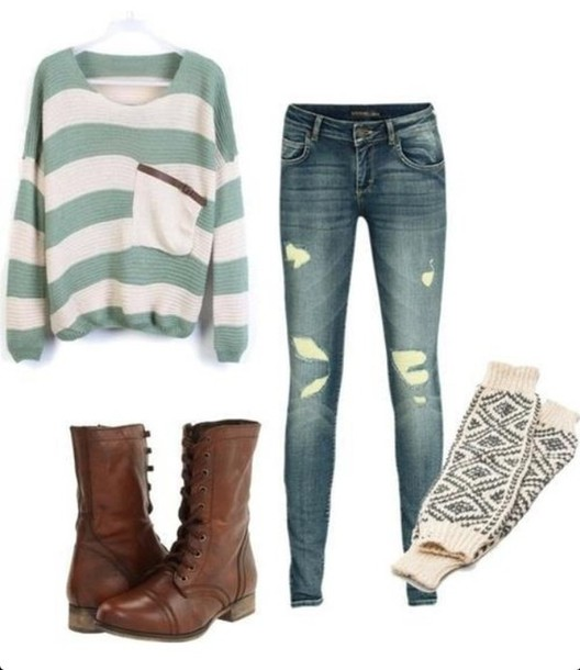 sweater stripes pockets shoes comfy winter outfits green socks oversized sweater jeans combat boots blouse shirt fall outfits boots top lovely sweater casual winter outfits