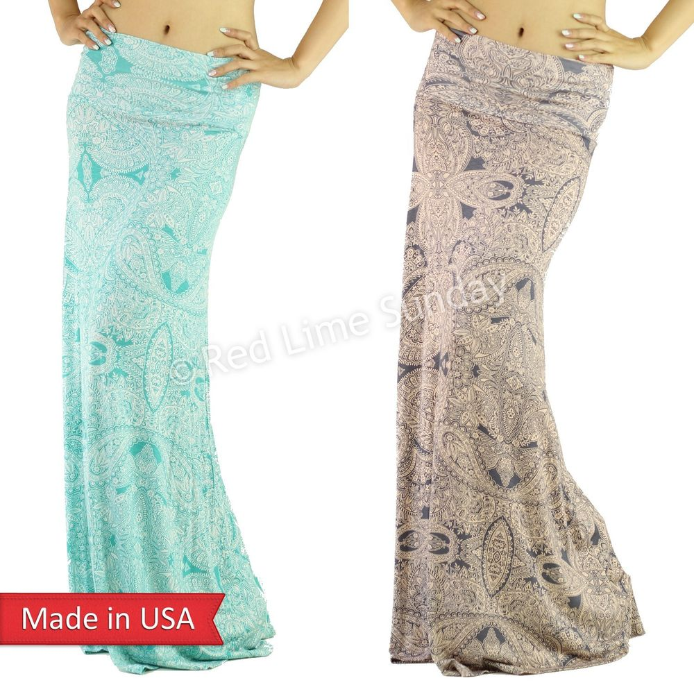 New Mint Taupe Color Girly Chic Baroque Ethnic Paisley Print Long Maxi Skirt USA