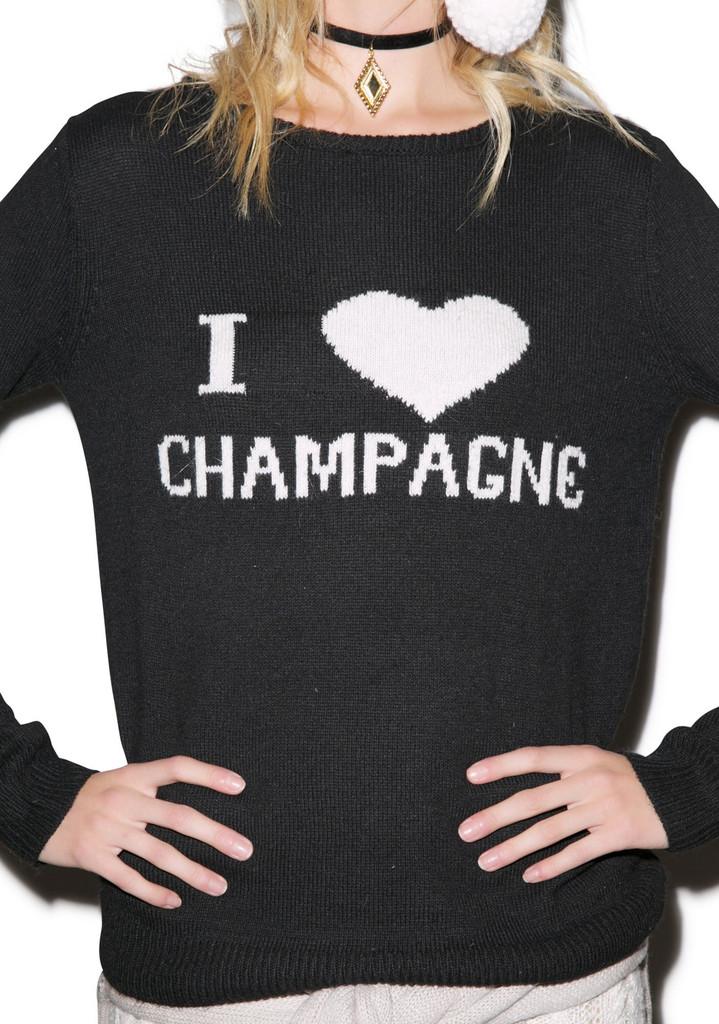 "Yonce ""i love champagne"" black sweatshirt – glamzelle"