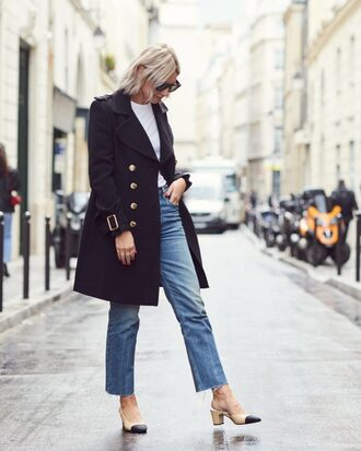 coat black coat tumblr denim jeans blue jeans shoes slingbacks fall outfits blue coat top white top cropped jeans