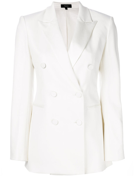 theory jacket double breasted women spandex white wool