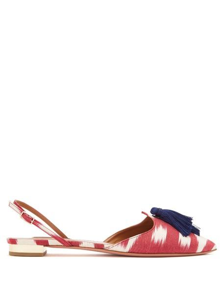 Aquazzura tassel love flats print red shoes