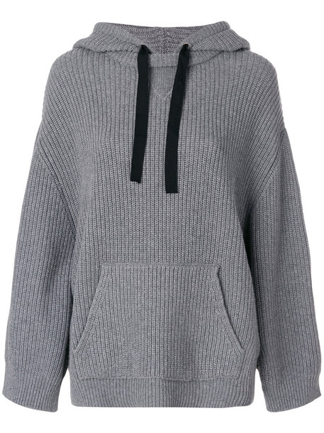 RED VALENTINO hoodie women cotton wool knit grey sweater