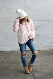 twenties girl style,blogger,sweater,hat,shoes,coat,bag,fleece pullover,boots,ugg boots,ripped jeans,winter outfits,beanie