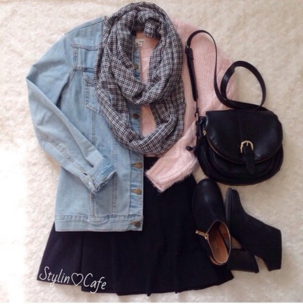 jacket scarf sweater skirt shoes