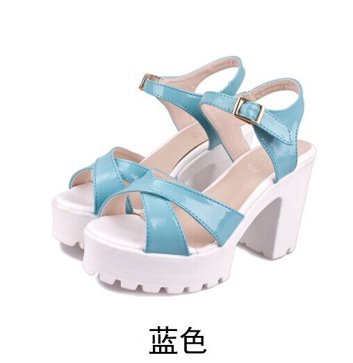 Women sandals! New 2014 summer button belt sandals platform thick heel platform women's shoes open toe high heeled shoes-inSandals from Shoes on Aliexpress.com