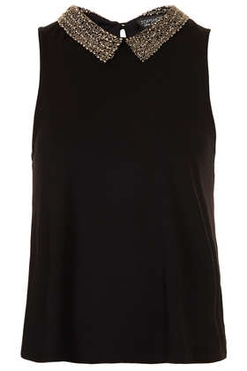 Bead Collar Swing Top - Tops  - Clothing  - Topshop USA
