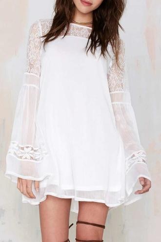 dress lace white mesh long sleeves flowy fashion style girly feminine