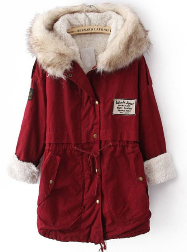 coat jacket red fur parka hood