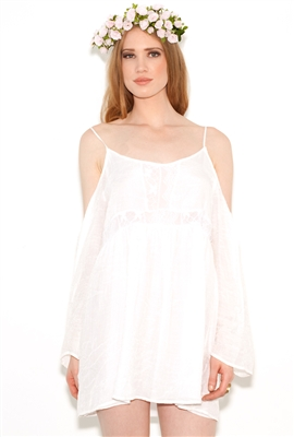 West coast wardrobe gypset cold shoulder dress in white