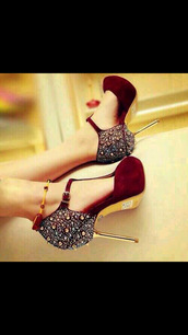shoes,red,classy,sharp,gorgeous,high heels,burgundy and gold heels