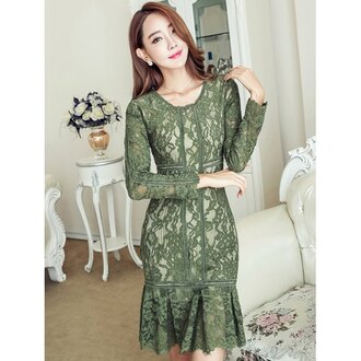 dress lace fashion style fall outfits trendy green girly classy elegant trendsgal.com