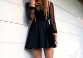 long dress,long sleeves,statement necklace,mini dress,black dress,black lace dress,dress