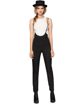 black pants high waisted pants fall outfits suspender pants chic pants fall trends back to school pre fall transitional pieces slimfit trendy pants affordable fashion pixie market pixie market girl