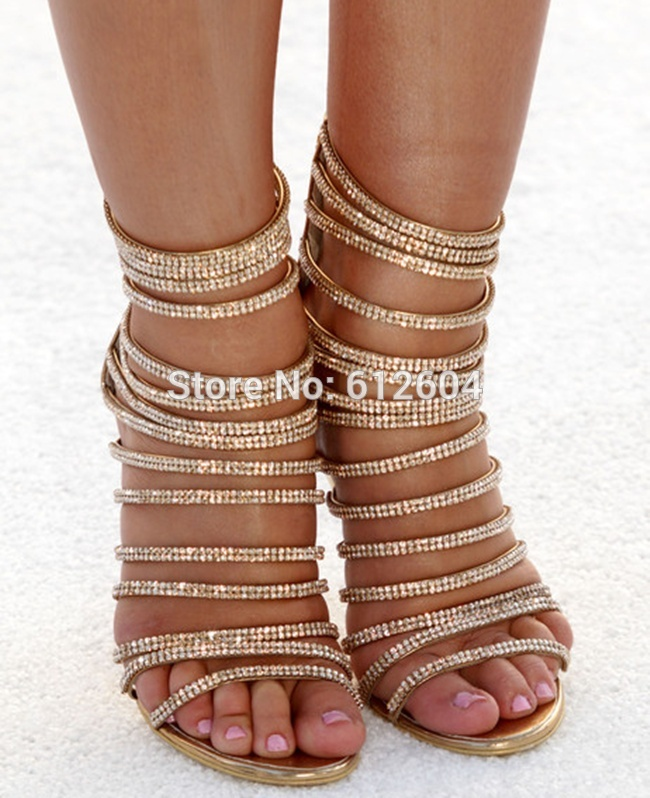 women rhinestone strappy high heel sandal boots gladiator gold ...