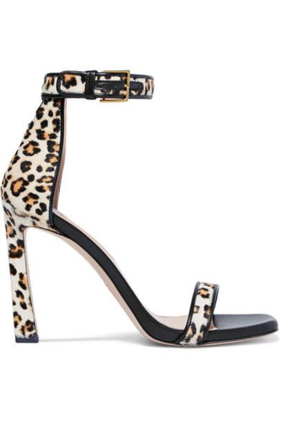 Stuart Weitzman - Squarenudist Leather-trimmed Leopard-print Calf Hair Sandals - Leopard print