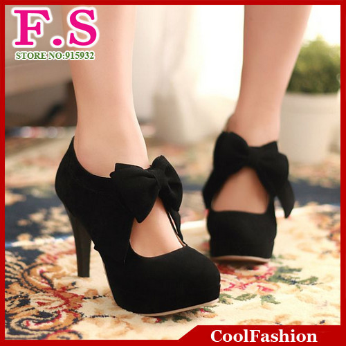 big size EUR32 EUR43 /vintage style,woman small bowtie platform pumps,lady's sexy high heeled shoes,sandals for women DHH270-in Pumps from Shoes on Aliexpress.com