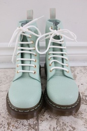 shoes,blue,teal,style,fashion,paris,france,combat boots,pastel,DrMartens,boots,mint,acquamarine,light green,dr marten boots,lime,leather,green,pretty,gorgeous,rock,doc martins,pastel purple,docmartens,pastel goth,pastel grunge,soft grunge,pastal goth,mint green shoes,flat boots