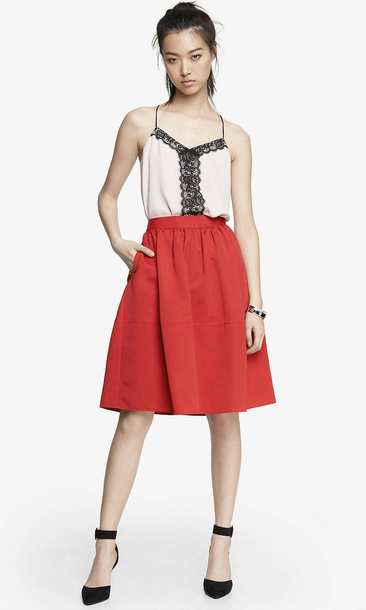 WAIST FULL MIDI SKIRT from EXPRESS