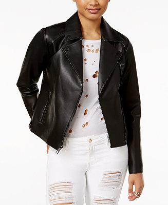 cea5cabb5 GUESS Faux-Leather Moto Jacket - Jackets - Women - Macy's
