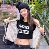 top,jacket,beanie,instagram,victoria justice,fall outfits,crop tops,sweater