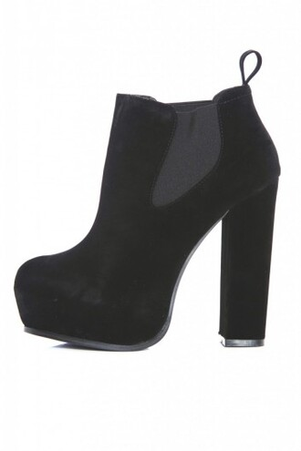 shoes boots chunky ankle boots suede black platform shoes heel