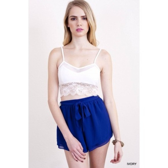 shorts ribbon blue skirt blue, ribbon, cute, tumblr, ariana grande crop tops rose, floral, vintage, tumblr, hipster, cute, girly, lace, skirt, bralet, bralette, bustier, crop, crop top, highwaisted, high waisted, flare, black lace crop top t-shirt