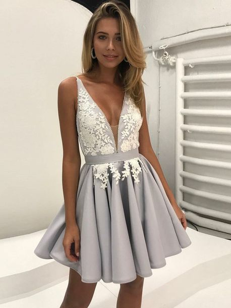 6b2da955e1b dress grey grey dress deep v-neck dress lace embellishments lace short dress  short homecoming