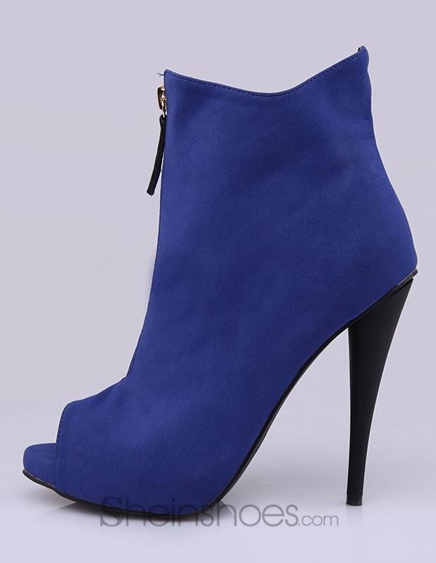 Blue Peep Toe Monogram Suede Stiletto