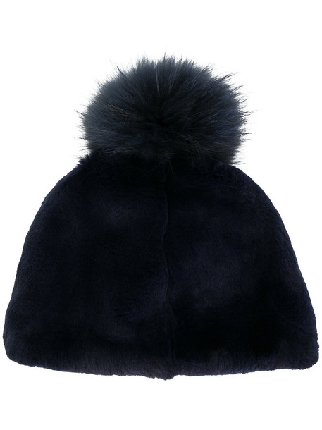 Liska fur fox women beanie pom pom beanie cotton blue hat