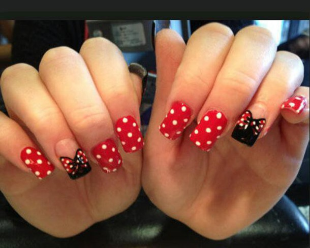 nail polish minnie mouse polka dots red and white