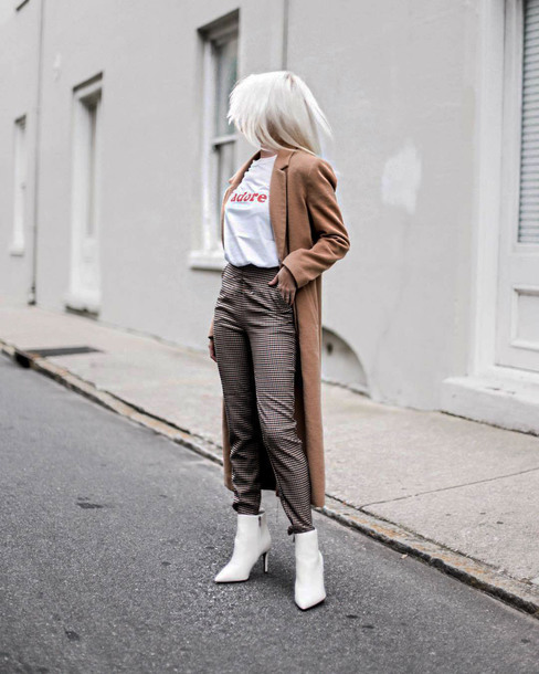 coat tumblr camel camel coat t-shirt white t-shirt pants grey pants boots white boots ankle boots
