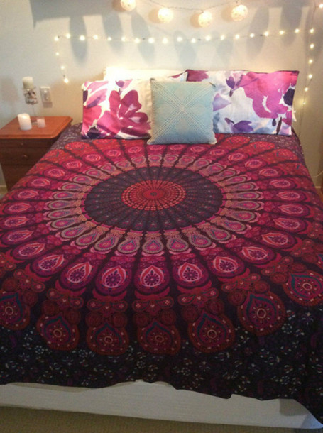 Home Accessory Bedding Bedding Blanket Bedcover Hippie Tapestry Purple Blue  Bohemian Wall Tapestry Wall Hanging Wall Part 57