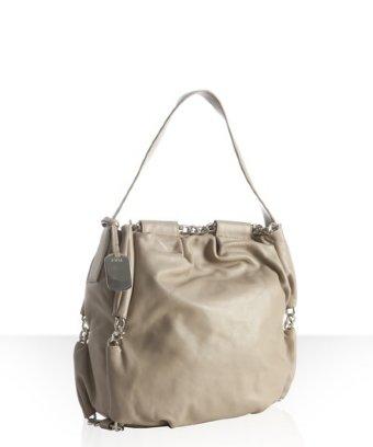 Furla sabbia leather 'arcadia' chain woven shoulder bag