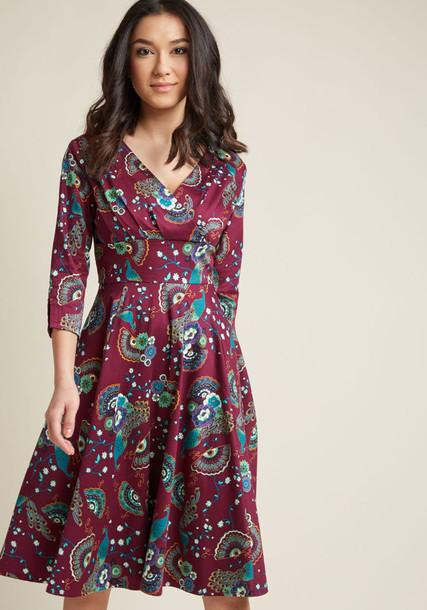 DR5362 dress retro pleated statement gold cotton purple teal