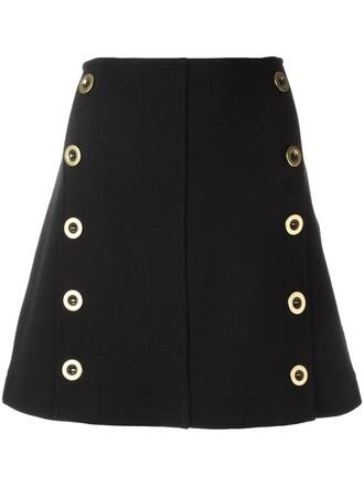 skirt women cotton black silk wool