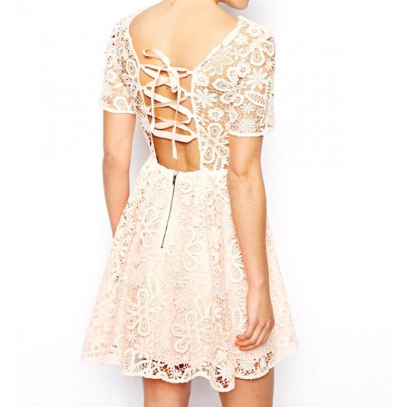Floral Crochet Skater Dress With Corset Strap Back at Style Moi