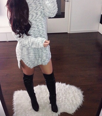 boots slit dress sweater dress