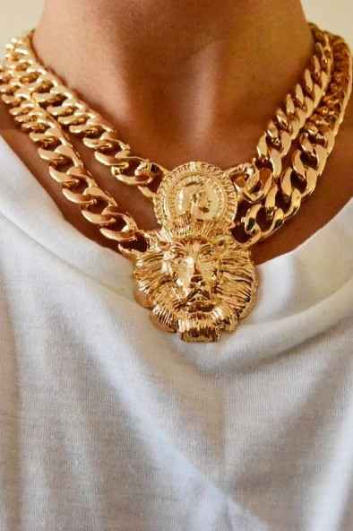 Chunky Gold Lion & Queen Necklace – Glamzelle