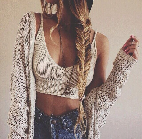 cardigan nude top bra bralette bandeau top nude knitted crop top braid top knitwear crop tops jewels