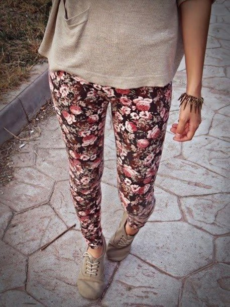leggings floral leggins roses printed leggings