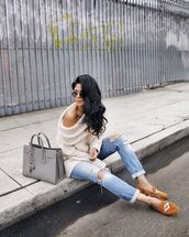 sweater,tumblr,white sweater,flats,loafers,oversized sweater,oversized,off the shoulder sweater,denim,jeans,light blue jeans,ripped jeans,cuffed jeans,bag,grey bag,sunglasses,aviator sunglasses,fall outfits,walk in wonderland,blogger,moccasins